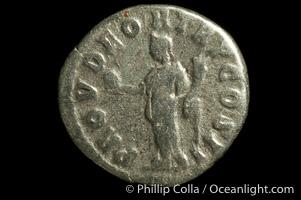 Roman emperor Lucius Verus (161-169 A.D.), depicted on ancient Roman coin (silver, denom/type: Denarius) (Denarius, 3.2 g. Obverse: IMP L AVEREL VERVS AVG. Reverse: PROV DEOR TR P COS II)