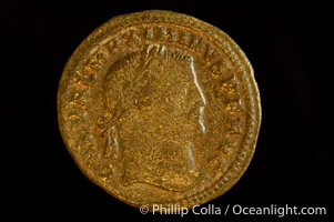 Roman emperor Maximinus II (305-308 A.D.), depicted on ancient Roman coin (bronze, denom/type: Follis) (Follis, 4.64 g,  VF. Reverse: GENIO IMPERATORIS NKY)
