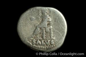 Roman emperor Nero (54-68 A.D.), depicted on ancient Roman coin (silver, denom/type: Denarius) (Denarius, RIC 54, BMC 98, RSC 316. Obverse: IMP NERO CAESAR AVG PP. Reverse: SALUS exergue.)