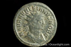 Roman emperor Numerian (283-284 A.D.), depicted on ancient Roman coin (bronze, denom/type: Antoninianus) (Antoninianus F. Obverse: M AVR NVMERIANVS NOB C. Reverse: R VIRTVS AVGG.)