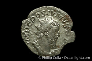 Roman emperor Postumus (259-267 A.D.), depicted on ancient Roman coin (billion, denom/type: Antoninianus)