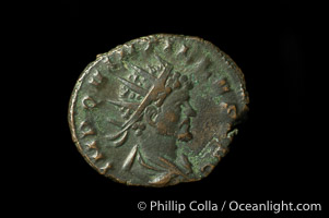 Roman emperor Quintillus (270 A.D.), depicted on ancient Roman coin (bronze, denom/type: Antoninianus)