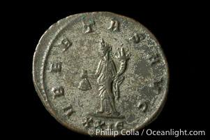 Roman emperor Tacitus (275-276 A.D.), depicted on ancient Roman coin (bronze, denom/type: Antoninianus) (Antoninianus VF. Obverse: IMP C M C L TACITVS AVG. Reverse: VBERAS AVG)