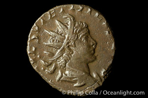 Roman emperor Tetricus II (273-274 A.D.), depicted on ancient Roman coin (bronze, denom/type: Antoninianus)