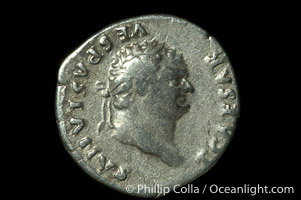Roman emperor Titus (79-81 A.D.), depicted on ancient Roman coin (silver, denom/type: Denarius) (Denarius F.)