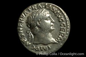 Roman emperor Trajan (98-117 A.D.), depicted on ancient Roman coin (silver, denom/type: Denarius)