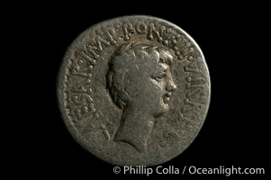 Image 06518, Roman emperors Marc Antony and Octavian (41 B.C.), depicted on ancient Roman coin (silver, denom/type: Denarius)., Phillip Colla, all rights reserved worldwide.   Keywords: ancient coin:ancient coins:roman coin.