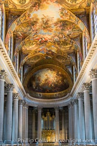 Royal Chapel of Versailles, dedicated to Saint Louis, patron saint of the Bourbons, the chapel was consecrated in 1710.  It was here that  Louis XVI of France was wed to Marie-Antoinette. The ceiling represents God the Father in His Glory Bringing to the World the Promise of Redemption and was painted by Antoine Coypel. Chateau de Versailles, Paris, natural history stock photograph, photo id 28250