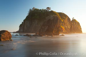 Ruby Beach and its famous seastack, blurry ocean waves, sunset, Olympic National Park, Washington