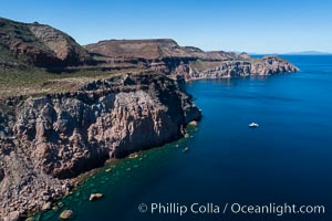 Rugged coastline on Isla Partida, aerial view, Sea of Cortez