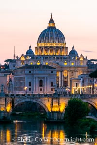 Saint Peter's Basilica over the Tiber River, Vatican City. Rome, Italy, natural history stock photograph, photo id 35564