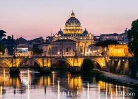 Saint Peter's Basilica over the Tiber River, Vatican City. Vatican City, Rome, Italy, natural history stock photograph, photo id 35584