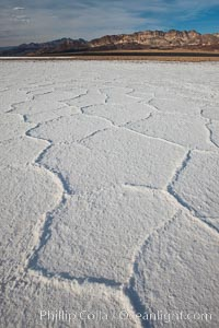 Image 25242, Salt polygons.  After winter flooding, the salt on the Badwater Basin playa dries into geometric polygonal shapes. Badwater, Death Valley National Park, California, USA