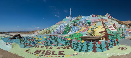 Salvation Mountain, the life work of Leonard Knight, near the town of Niland, California. Salvation Mountain, Niland, California, USA, natural history stock photograph, photo id 29221