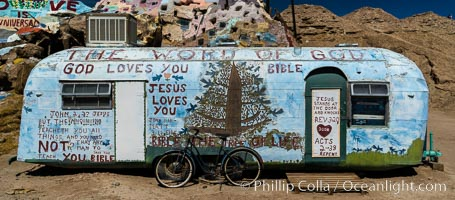 Salvation Mountain, the life work of Leonard Knight, near the town of Niland, California. USA, natural history stock photograph, photo id 29223