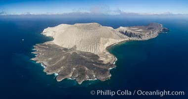 San Benedicto Island and Barcena crater, aerial photo, Revillagigedos Islands, Mexico. San Benedicto Island (Islas Revillagigedos), Baja California, Mexico, natural history stock photograph, photo id 32914