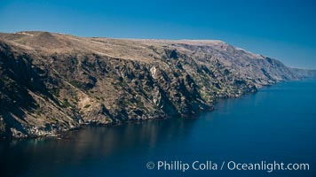 San Clemente Island, aerial photo, steep cliffs and mountainous terrain on the south eastern shore of the island