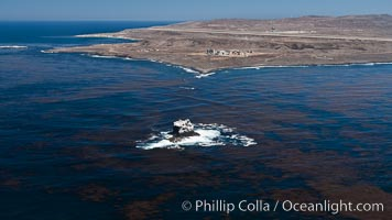 San Clemente Island and Castle Rock, kelp beds visible at the ocean surface