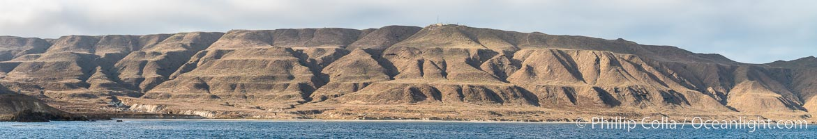San Clemente Island geological terracing, caused by uplifting over millenia.  The stair-step landscape of uplifted marine terraces on the southern end of San Clemente Island