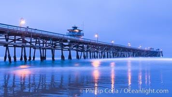 San Clemente Pier at dawn, San Clemente, California. San Clemente, California, USA, natural history stock photograph, photo id 28469