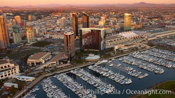 Embarcadero marina and San Diego Marriott hotel towers, along San Diego Bay. San Diego, California, USA, natural history stock photograph, photo id 22407