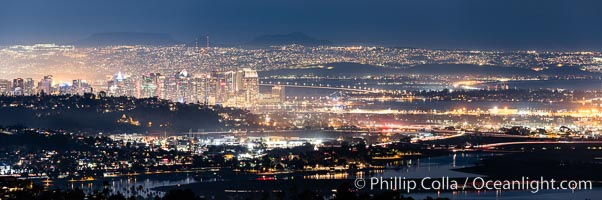 San Diego and Tijuana City Skyline, panoramic photo, viewed from Mount Soledad