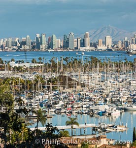 San Diego Bay and Skyline, viewed from Point Loma, panoramic photograph. San Diego, California, USA, natural history stock photograph, photo id 30204