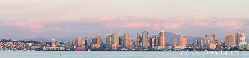 San Diego Bay and Skyline at sunset, viewed from Point Loma, panoramic photograph. San Diego, California, USA, natural history stock photograph, photo id 30211
