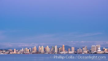 San Diego Bay and Skyline at sunset, viewed from Point Loma, panoramic photograph