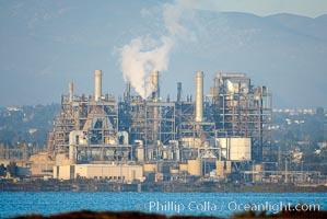 Factory produces steam near the San Diego Bay National Wildlife Refuge, San Diego