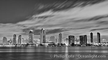 San Diego bay and skyline at sunrise, viewed from Coronado Island. California, USA, natural history stock photograph, photo id 27172