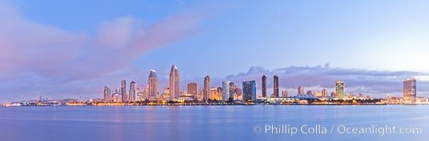 San Diego bay and skyline at sunrise, viewed from Coronado Island. California, USA, natural history stock photograph, photo id 27176