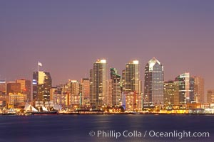 San Diego city skyline at dusk, viewed from Harbor Island. California, USA, natural history stock photograph, photo id 14528