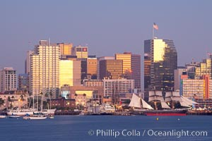 San Diego city skyline at dusk, viewed from Harbor Island. San Diego, California, USA, natural history stock photograph, photo id 14540