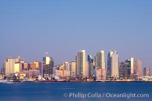 San Diego city skyline at dusk, viewed from Harbor Island