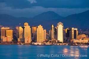 San Diego harbor skyline, late afternoon, storm clouds and mountains. San Diego, California, USA, natural history stock photograph, photo id 15672