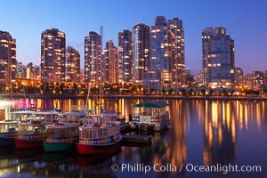 Yaletown section of Vancouver at night, viewed from Granville Island. Granville Island, Vancouver, British Columbia, Canada, natural history stock photograph, photo id 21164