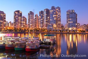 Yaletown section of Vancouver at night, viewed from Granville Island. British Columbia, Canada, natural history stock photograph, photo id 21165