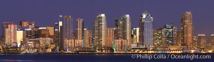 San Diego city skyline at sunset, showing the buildings of downtown San Diego rising above San Diego Harbor, viewed from Harbor Island.  A panoramic photograph, composite of thirteen separate images. San Diego, California, USA, natural history stock photograph, photo id 22255