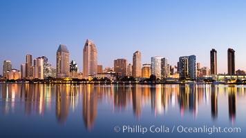 San Diego City Skyline at Sunrise. California, USA, natural history stock photograph, photo id 28380