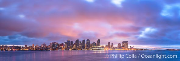 San Diego City Skyline viewed from Harbor Island, storm clouds at sunrise. San Diego, California, USA, natural history stock photograph, photo id 28844