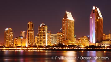 San Diego city skyline at night, showing the buildings of downtown San Diego reflected in the still waters of San Diego Harbor, viewed from Coronado Island. California, USA, natural history stock photograph, photo id 22250