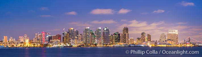 San Diego city skyline at sunset, showing the buildings of downtown San Diego rising above San Diego Harbor, viewed from Harbor Island. San Diego, California, USA, natural history stock photograph, photo id 27889