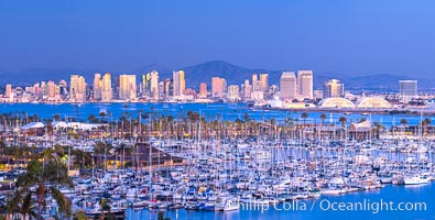 San Diego City Skyline at Sunset, viewed from Point Loma, panoramic photograph