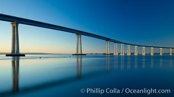 San Diego Coronado Bridge, linking San Diego to the island community of Coronado, spans San Diego Bay.  Dawn. San Diego, California, USA, natural history stock photograph, photo id 27704