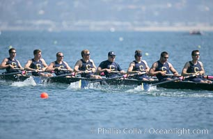 Cal (UC Berkeley) on their way to winning the men's JV final, 2007 San Diego Crew Classic, Mission Bay