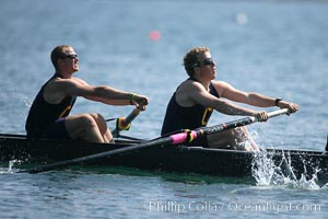 Cal (UC Berkeley) on their way to winning the men's JV final, 2007 San Diego Crew Classic. Mission Bay, San Diego, California, USA, natural history stock photograph, photo id 18643