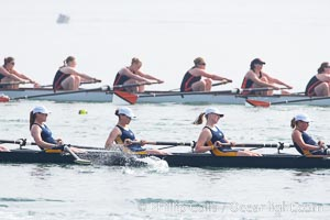 Cal (UC Berkeley) women's collegiate novice crew race in the finals of the Korholz Perpetual Trophy, 2007 San Diego Crew Classic, Mission Bay