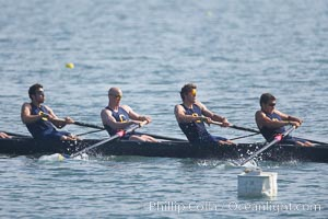 Cal (UC Berkeley) men's collegiate novice crew on their way to winning the Derek Guelker Memorial Cup, 2007 San Diego Crew Classic, Mission Bay
