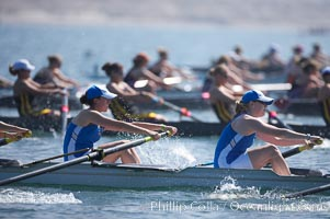 Start of the women's JV final, UCLA boat in foreground, 2007 San Diego Crew Classic, Mission Bay